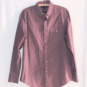 Banana Republic Red Plaid Men's Dress Shirt, 15""